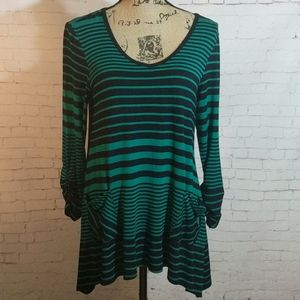 VERSONA Accessories 3/4 Sleeved Striped Blouse